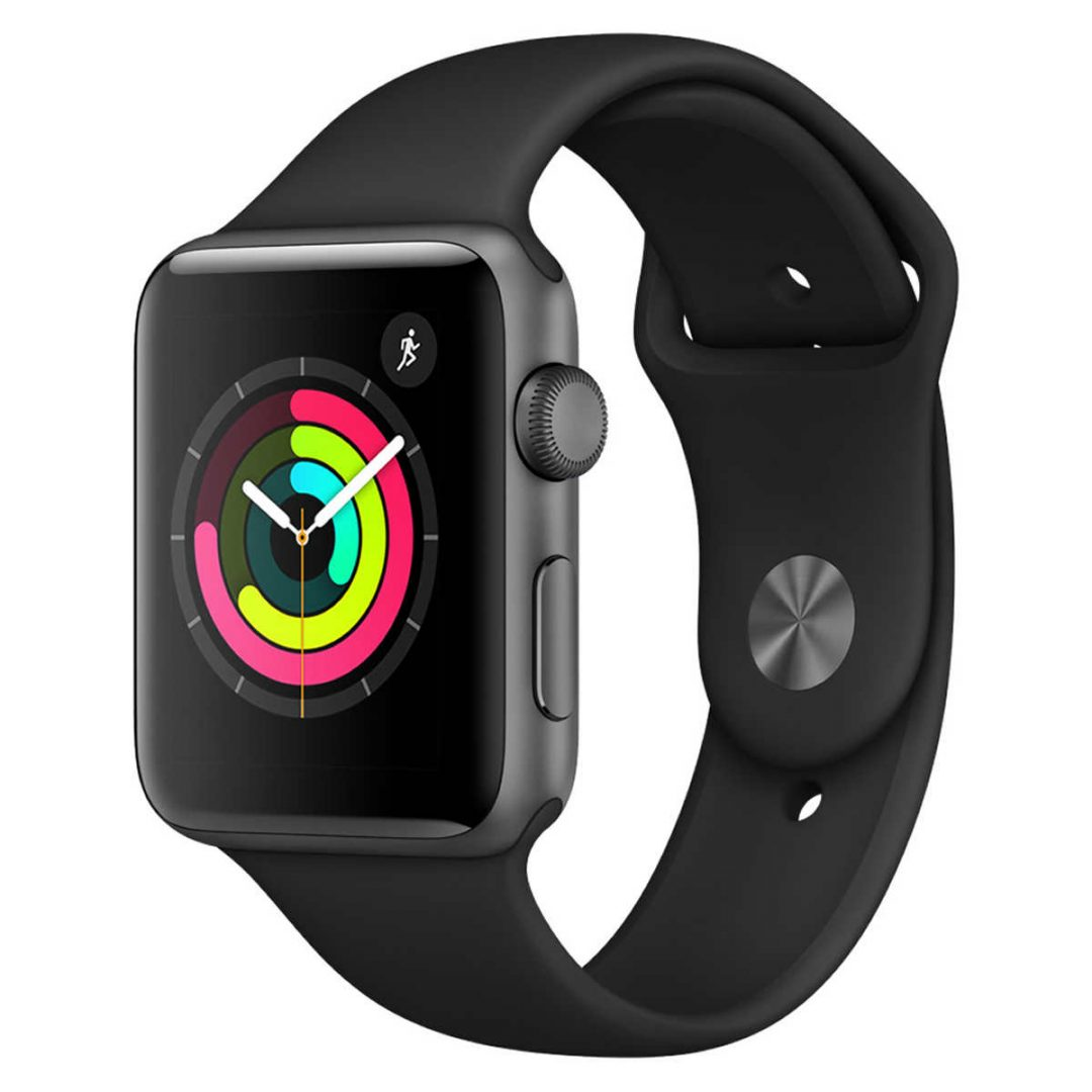 AppleWatch Series3 GPS, 42mm Space Gray Aluminum Case with Cocoa Sport Band $175