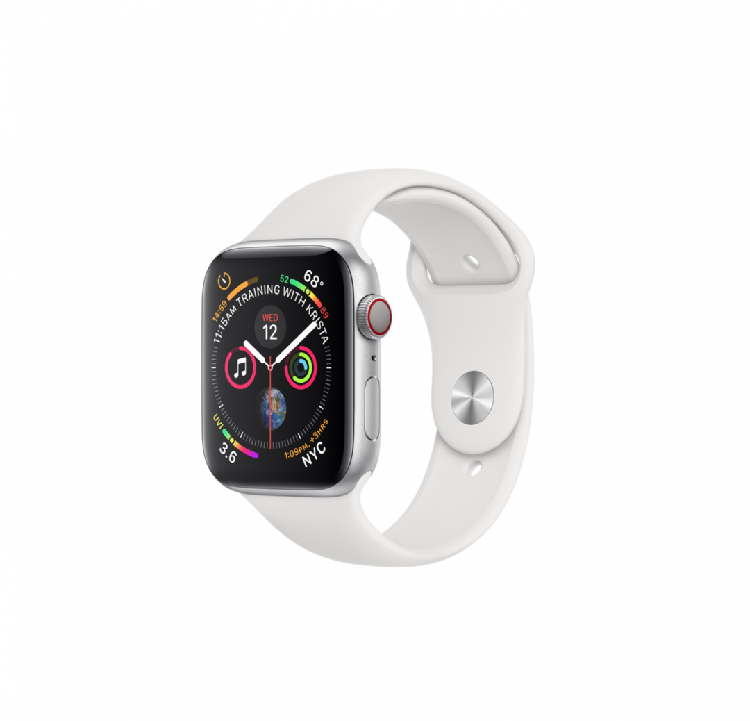 AppleWatch Series4 GPS,40mm Silver Aluminum Case with White Sport Band $349